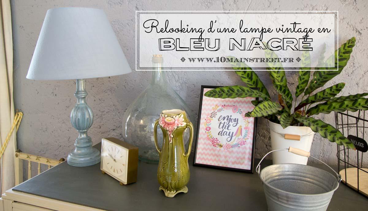 Relooking bleu nacré d'une lampe vintage