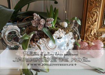 Jardinière de Noël, paillettes et patine dorée