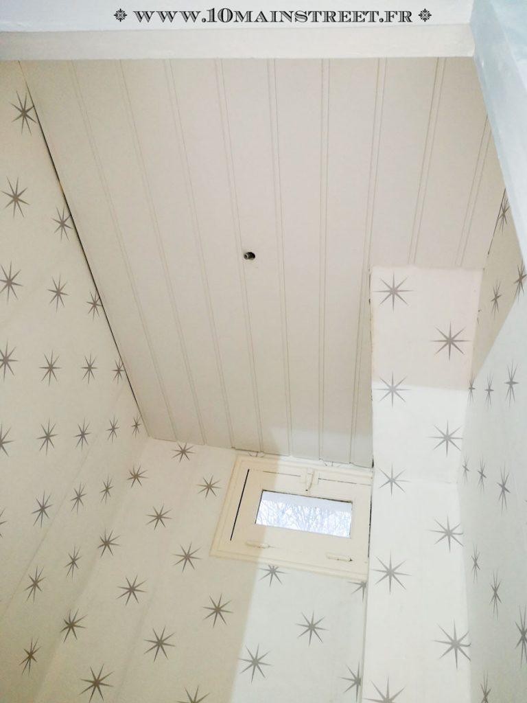Plafond tapissé en lambris PVC