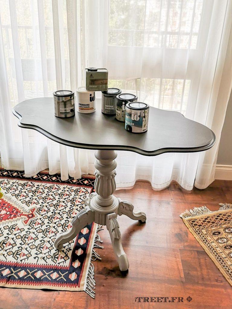 Plateau de la table violon peint avec Renocolor couleur zinc