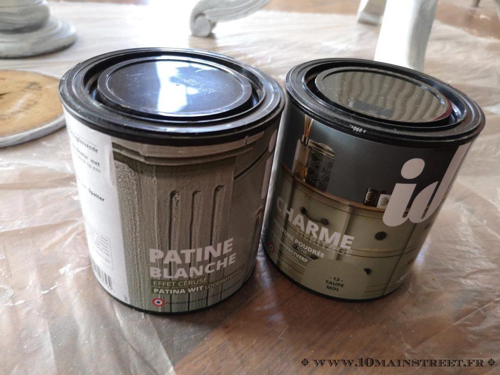 Patine blanche et peinture Taupe chez ID