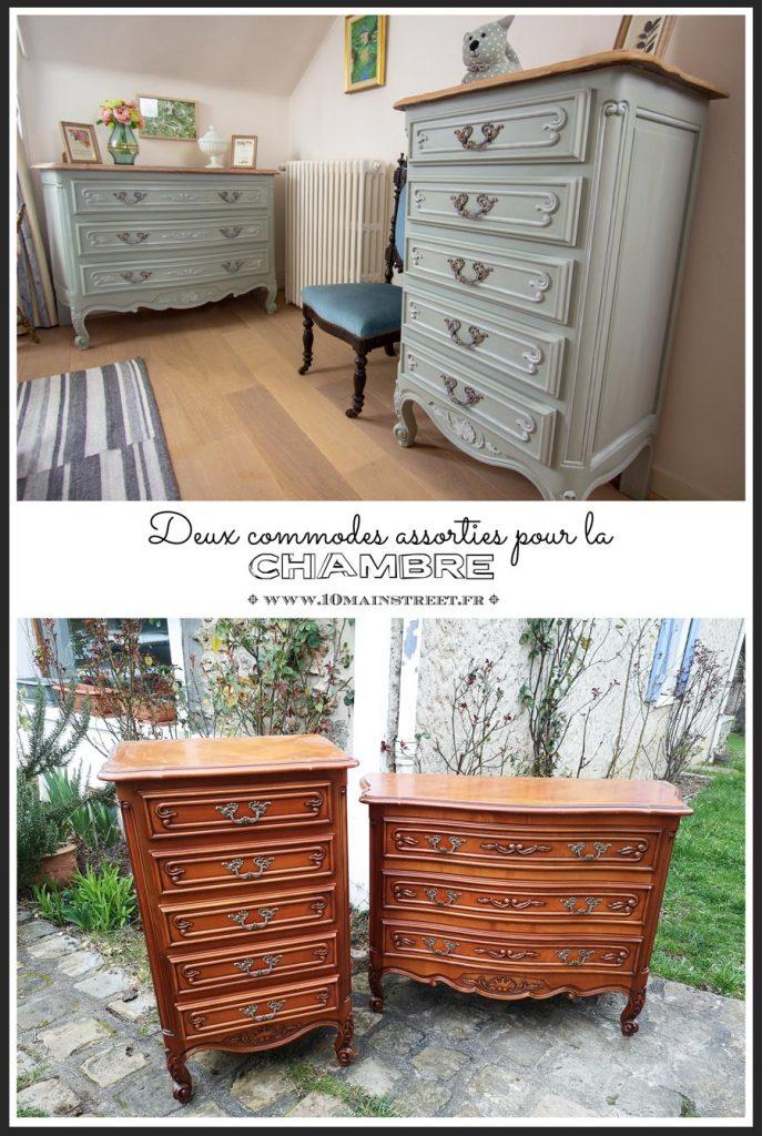Deux commodes pour le chambre | #relooking | Peinture ID Paris gamme Charme | #french #commode