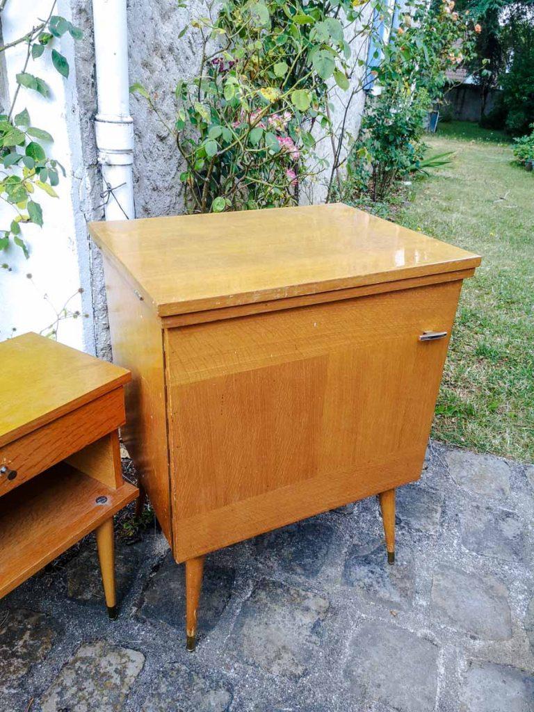 Meuble à machine à coudre vintage placage chêne