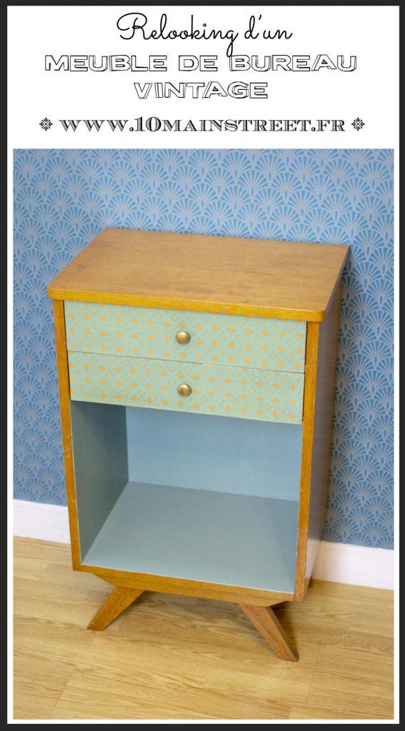 Relooking d'un meuble de bureau vintage | relooking à la peinture et au papier décor | #midcentury #vintage #passionvintage #wallpaper