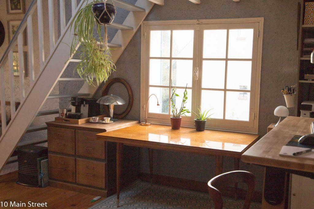 Table et classeur indus vintage