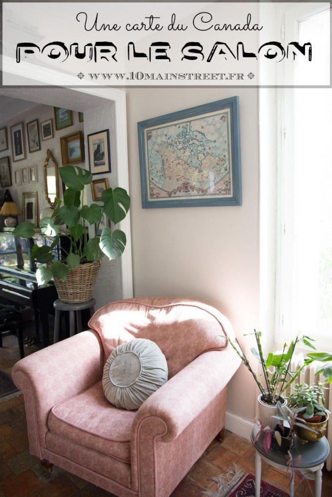 Une carte du Canada pour le salon | relooking | cadre | ID Paris | Peinture Charme