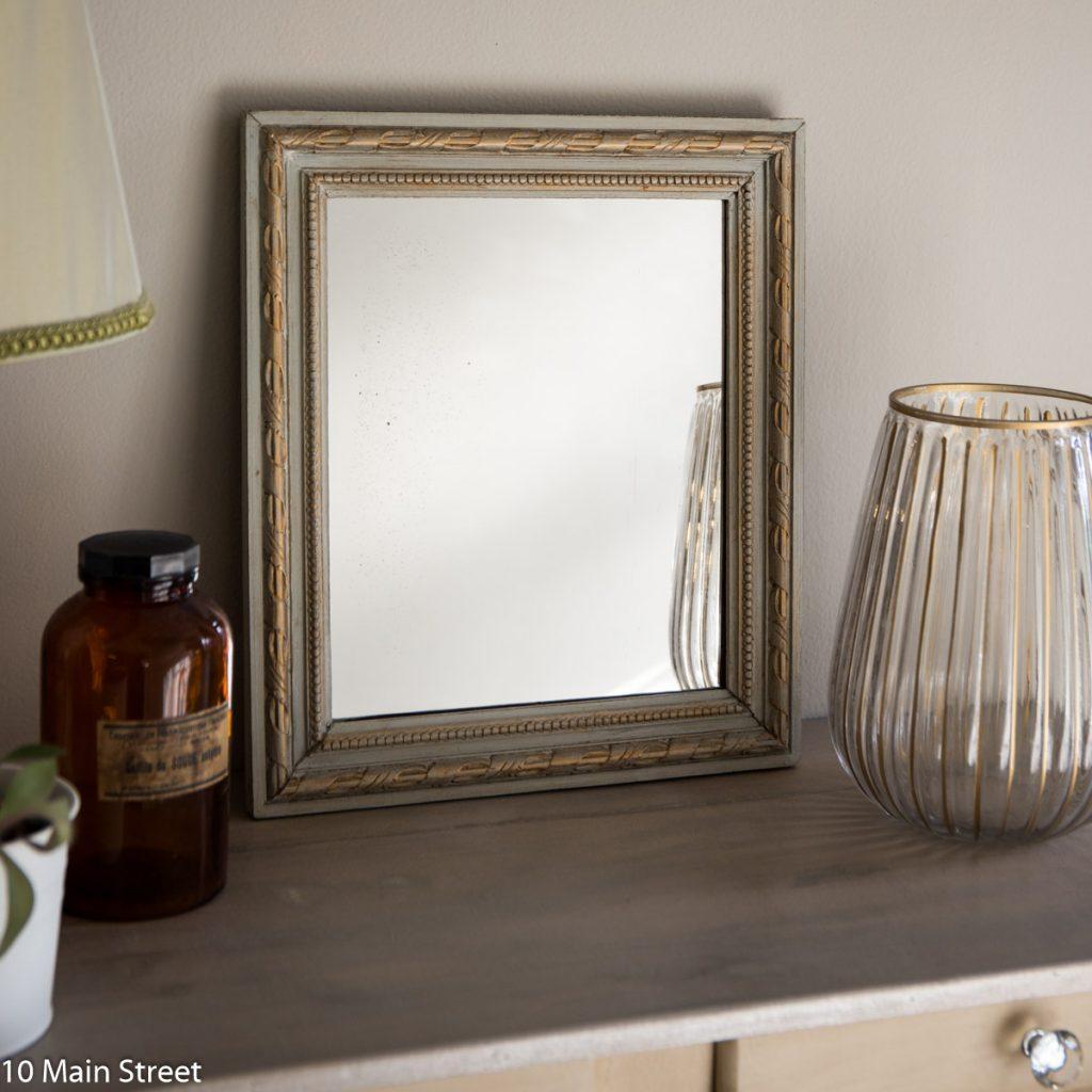 Miroir patiné gris et or : premier projet miroir
