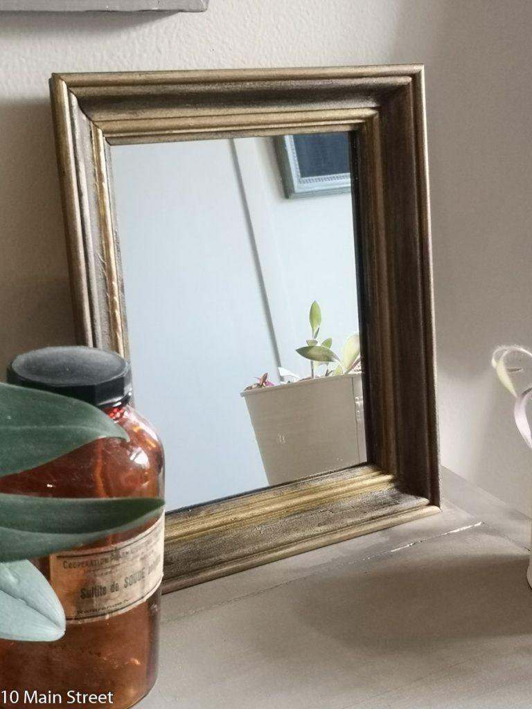 Miroir patiné noir et or : 2e projet miroir