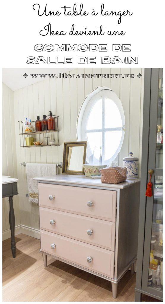 Une table à langer Ikea transformée en commode de salle de bain - #Ikeahack - relooking de meuble - upcycling