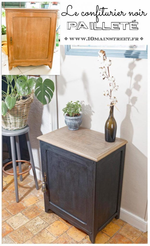 Le confiturier noir pailleté - Relooking d'un vieux placard confiturier en chêne déjà repeint et dont la finition était usée - peinture de meuble - #relooking #furnituremakeover #frenchfurniture - www.10mainstreet.fr
