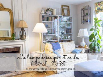 Le lampadaire gris et or du salon - relooking économique - peindre des meubles en utilisant des restes de peinture - www.10mainstreet.fr