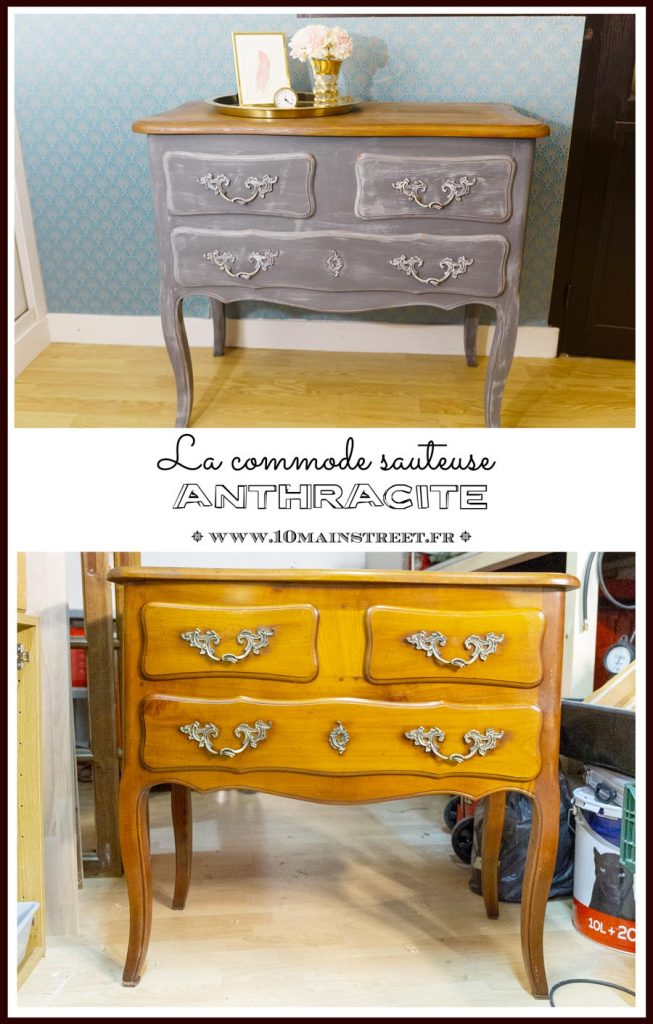 La commode sauteuse anthracite - dry-brushing - french furniture - relooking de commode française #furnituremakeover #relookingmeuble #patina #vintage #drybrushing - www.10mainstreet.fr