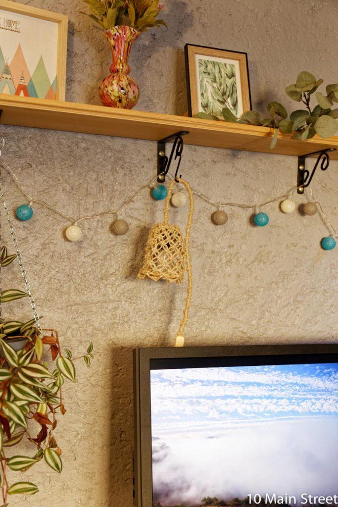 Lampe suspendue en corde au macramé