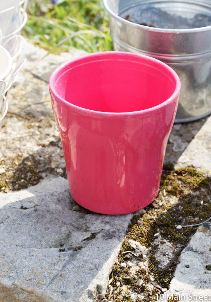 Cache-pot en céramique fuschia
