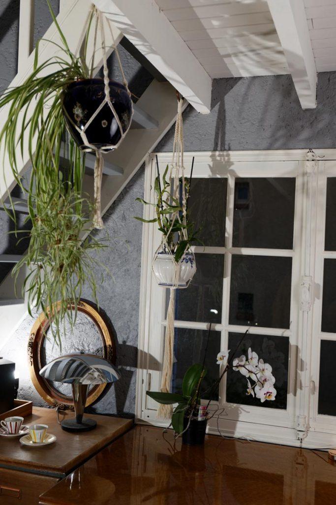 Première suspension à plante en macramé devant la fenêtre