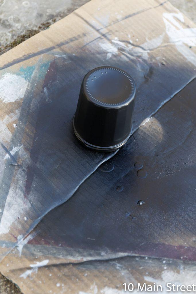 Corps en verre peint en noir mat