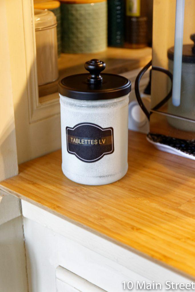 Bocal en verre pour les tablettes de lave-vaisselle