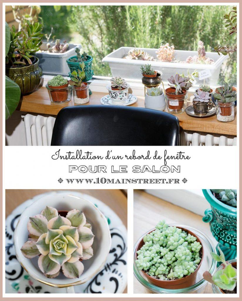 Installation d'un rebord de fenêtre en plan de travail de cuisine dans le salon #plantes #succulentes #succulentlove