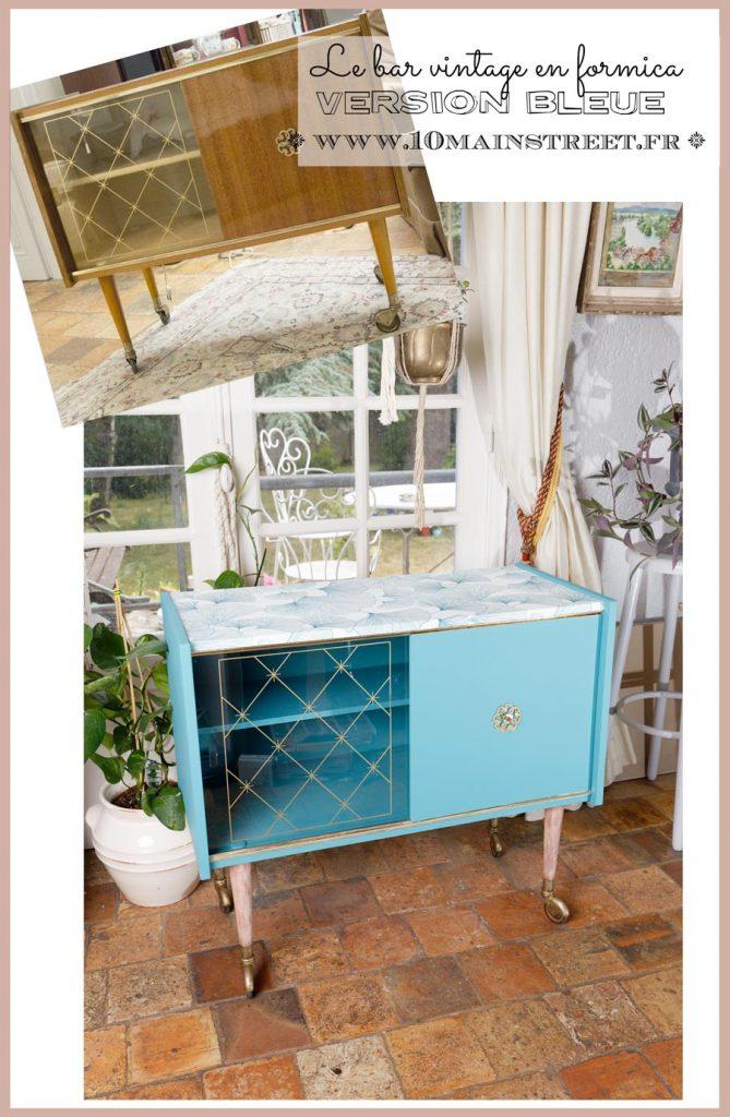 Le bar vintage en formica, version bleue - relooking - midcentury - vintage - scandi - www.10mainstreet.fr