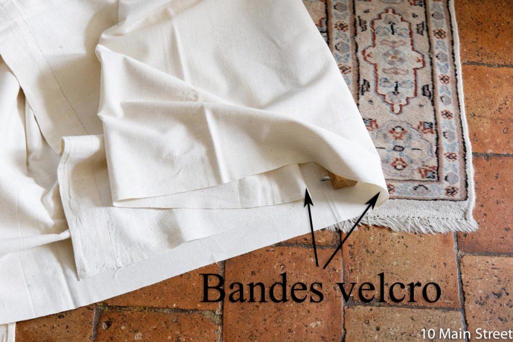 position des bandes velcro sur le tissu