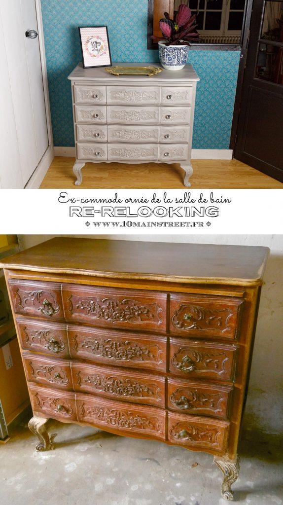 Ex-commode ornée de la salle de bain : re-relooking - Louis XV - French provincial dresser makeover