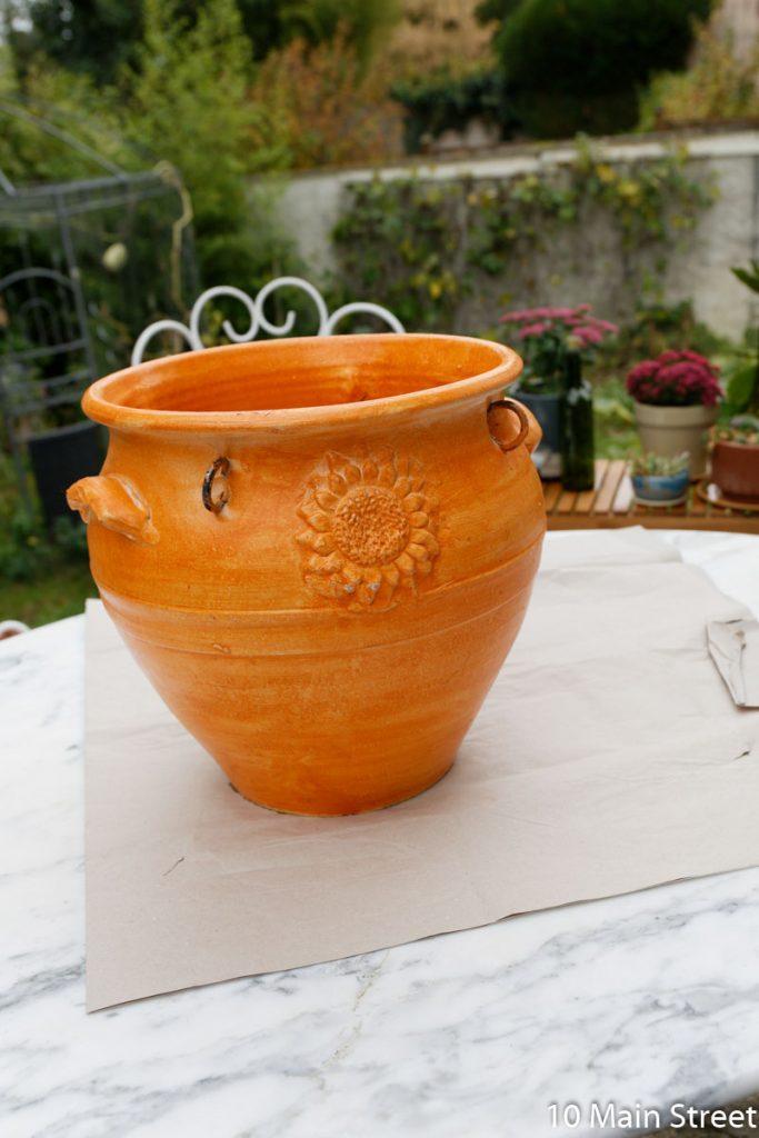 cache-pot en résine orange