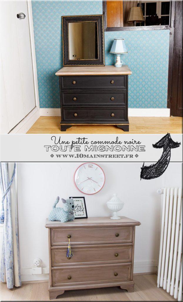 Une petite commode noire toute mignonne relookée à la peinture à la craie maison | DIY Chalk Paint | French dresser makeover