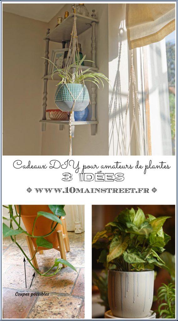 Cadeaux DIY pour amateurs de plantes : 3 idées | Suspension macramé, cache-pot customisé, bouturage | #noel2020 #faitmain