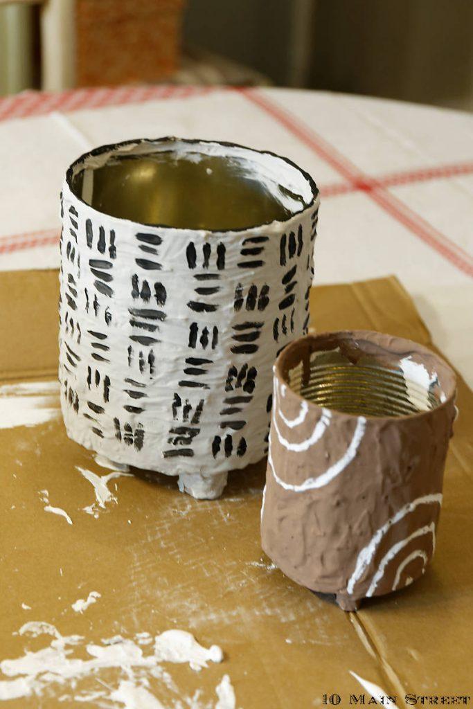 Cache-pots Boho réalisés à partir de conserves