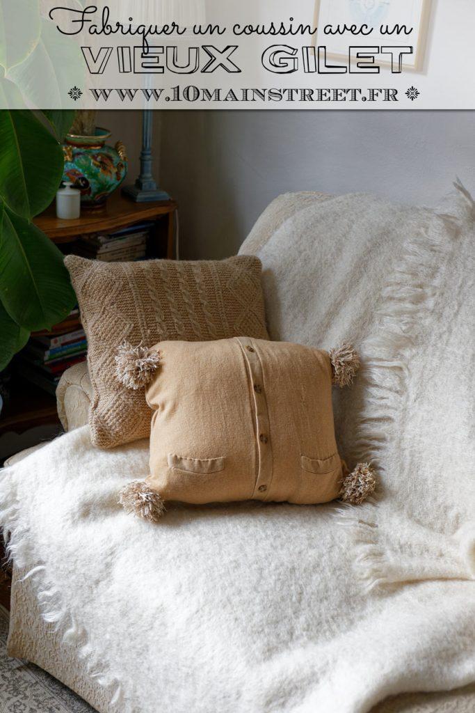 Fabriquer un coussin avec un vieux gilet #upcycling #couture