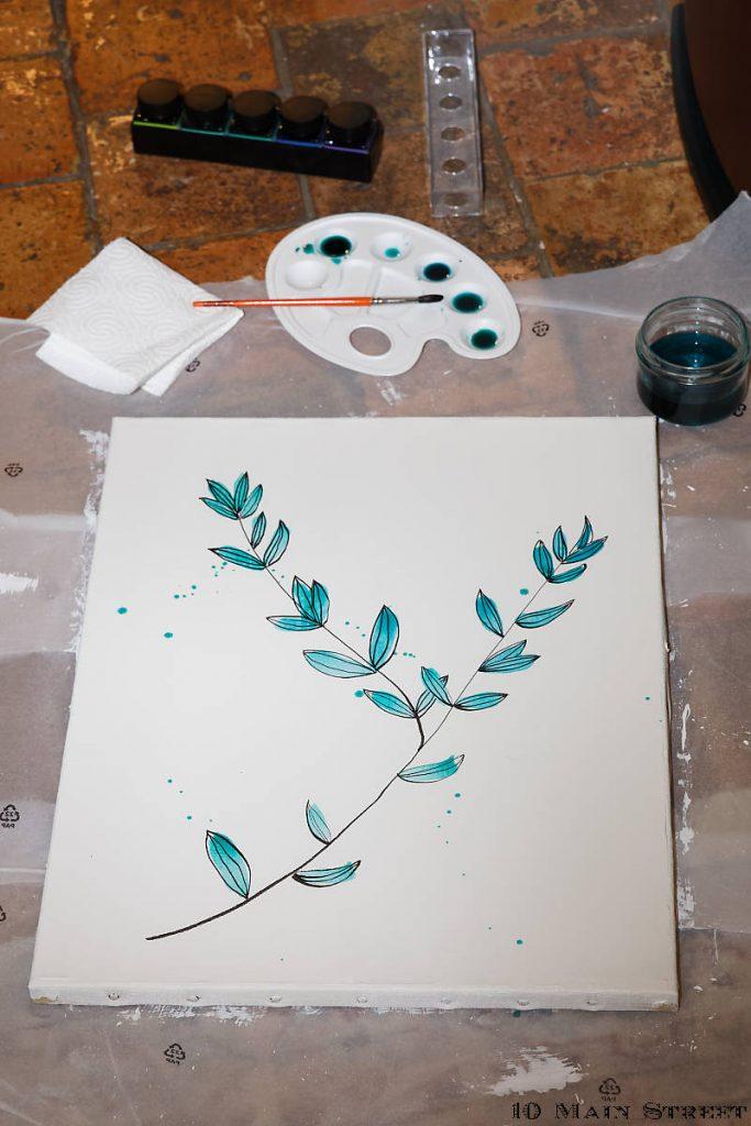 Aquarelle simplissime pour recycler une vieille toile