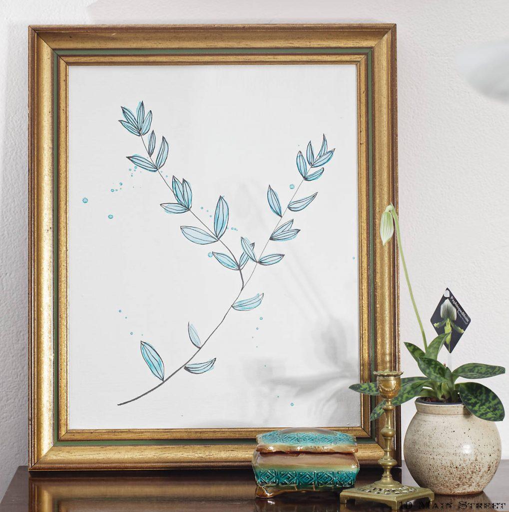 Vieille toile recyclée grâce à une aquarelle simplissime