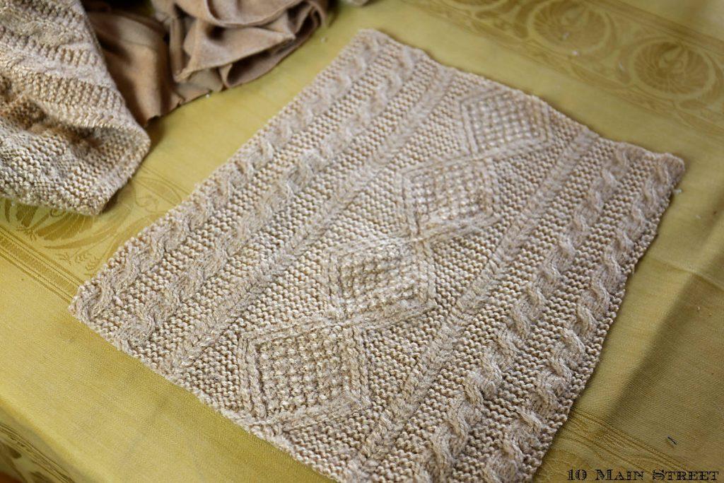 Motif tricoté à utiliser pour le coussin lombaire