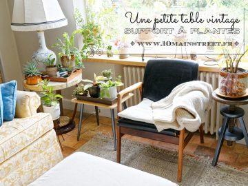 Une petite table vintage rénovée comme support à plantes