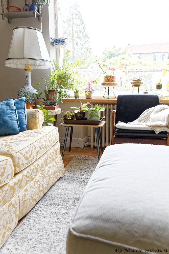 Petite table vintage et plantes dans le salon