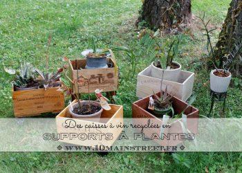Des caisses à vin recyclées en supports à plantes