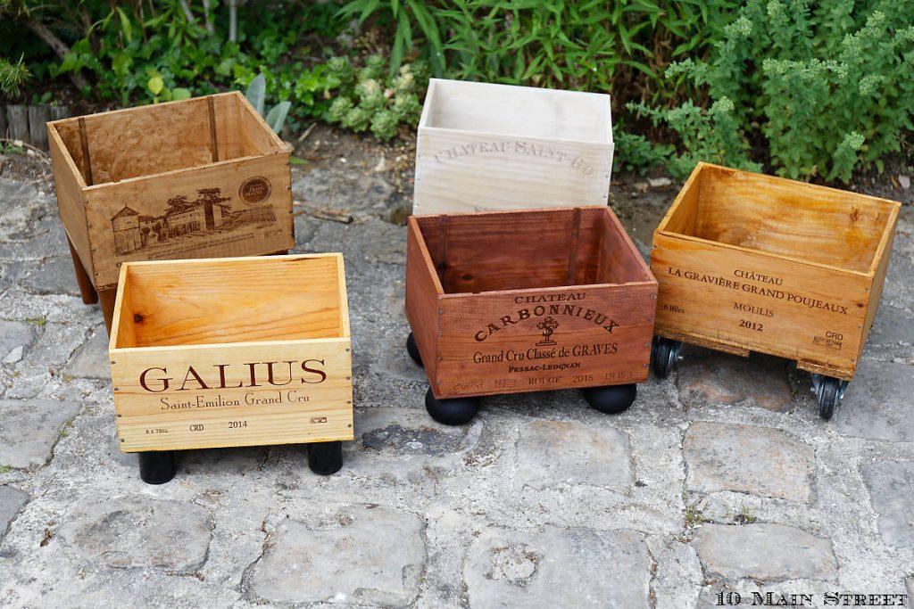Caisses à vin redécorées