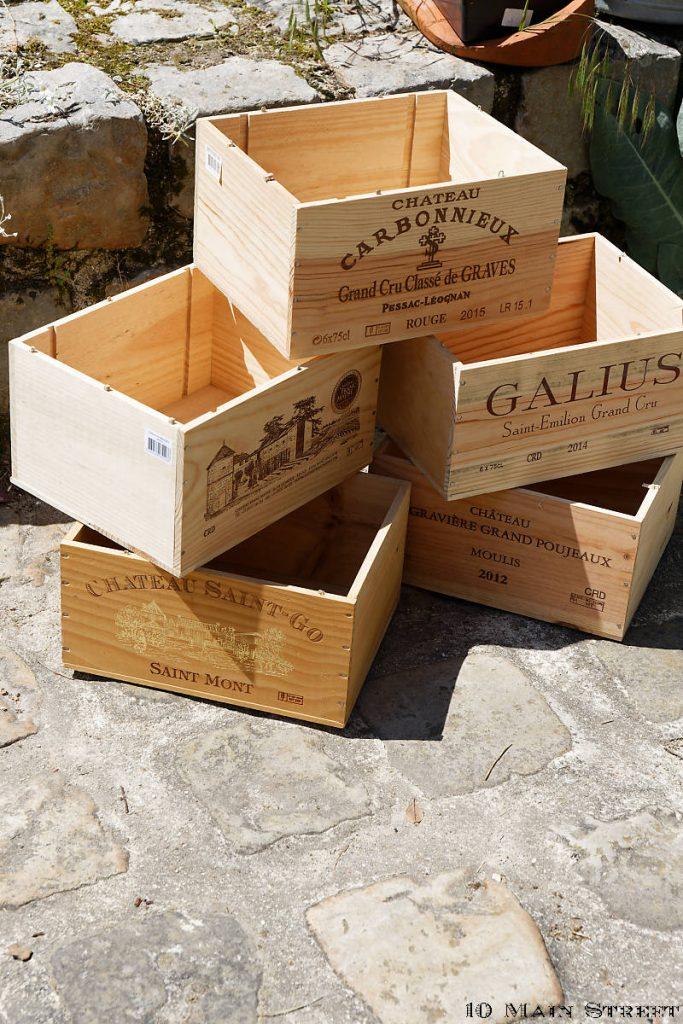 Caisses à vin récupérées