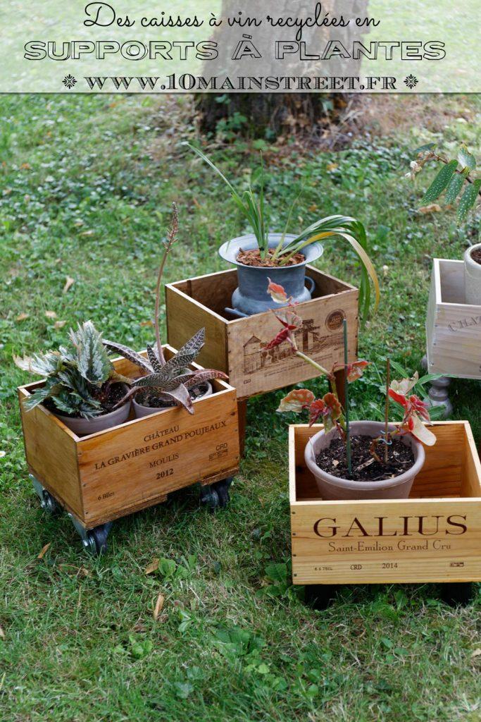 Des caisses à vin recyclées en supports à plantes #upcycling
