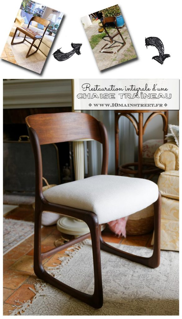Restauration intégrale d'une chaise traîneau Baumann #midcentury