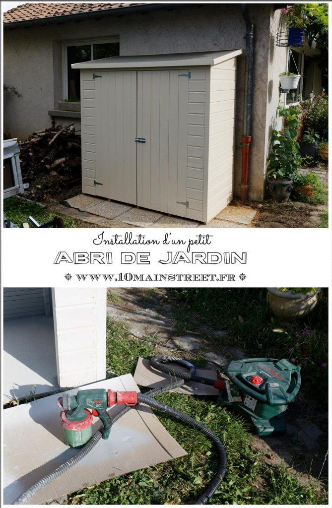 Installation d'un petit abri de jardin en bois