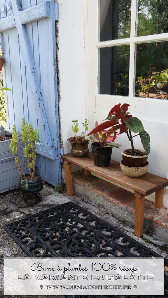 Banc à plantes en bois : la variante palette sans vis apparente !