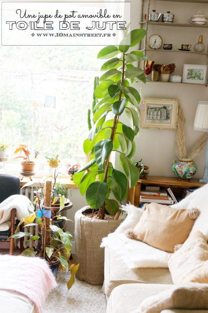 Fabriquer une jupe de pot amovible en toile de jute | cache-pot en tissu DIY